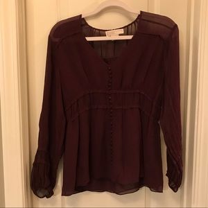 Michael Kors Med Dark Burgundy Long Sleeve Blouse